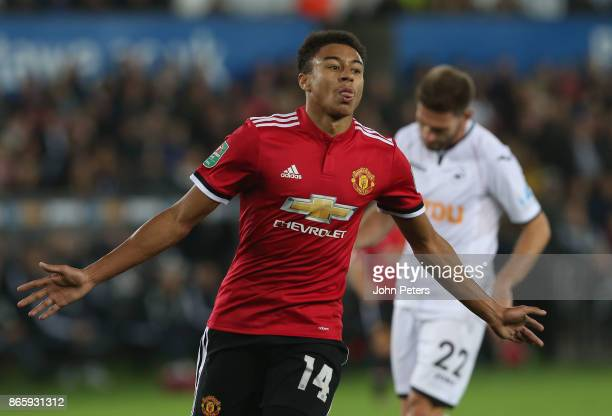 Jesse Lingard of Manchester United celebrates scoring their first goal during the Carabao Cup Fourth Round match between Swansea City and Manchester...