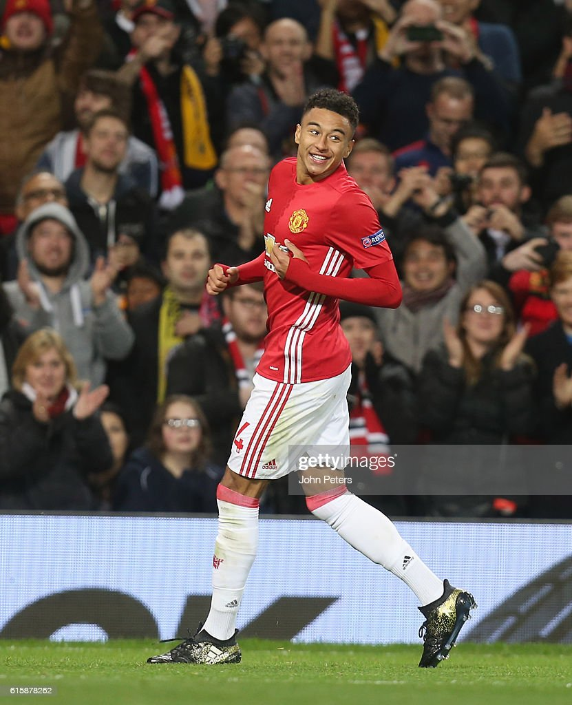 Jesse Lingard of Manchester United celebrates scoring their fourth goal during the UEFA Europa League match between Manchester United FC and Fenerbahce SK at Old Trafford on October 20, 2016 in Manchester, England.