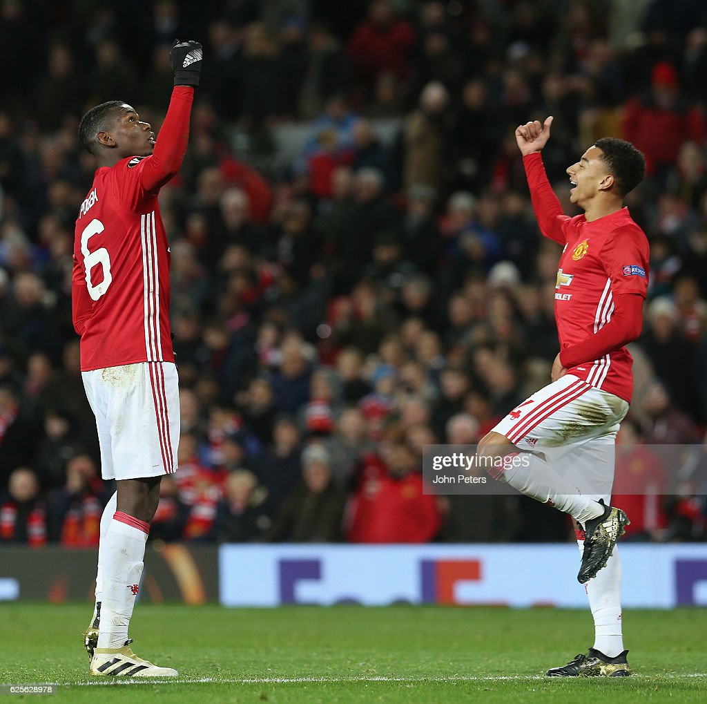 Jesse Lingard of Manchester United celebrates scoring their fourth goal during the UEFA Europa League match between Manchester United FC and Feyenoord at Old Trafford on November 24, 2016 in Manchester, England.