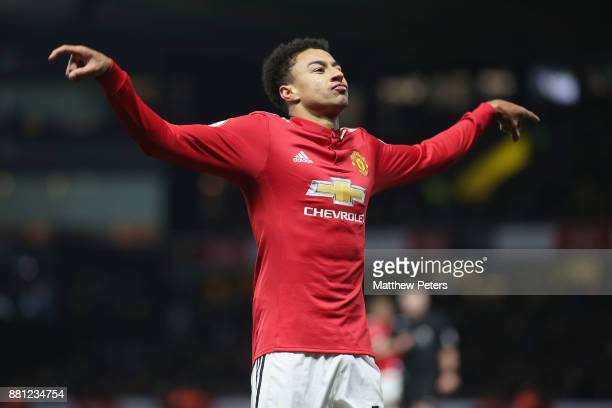 Jesse Lingard of Manchester United celebrates scoring their fourth goal during the Premier League match between Watford and Manchester United at...
