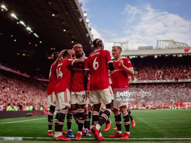 Jesse Lingard of Manchester United celebrates scoring their fouth goal during the Premier League match between Manchester United and Newcastle United...