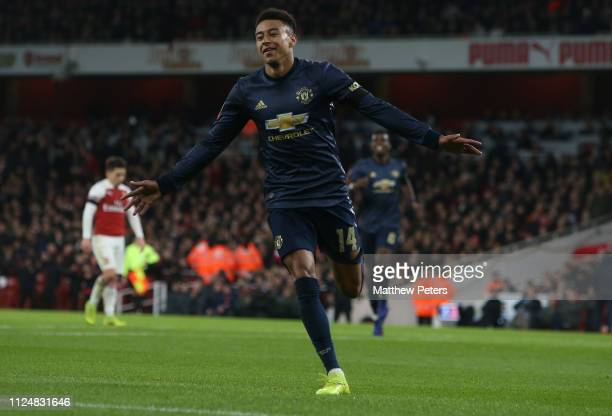 Jesse Lingard of Manchester United celebrates scoring their second goal during the FA Cup Fourth Round match between Arsenal and Manchester United at...