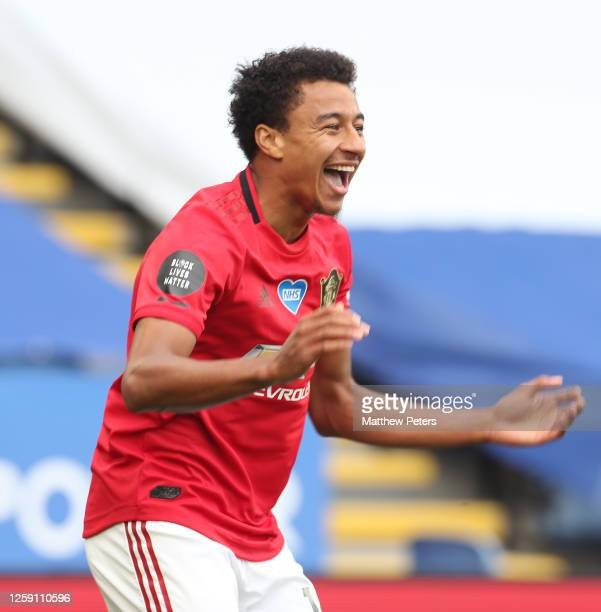 Jesse Lingard of Manchester United celebrates scoring their second goal during the Premier League match between Leicester City and Manchester United...