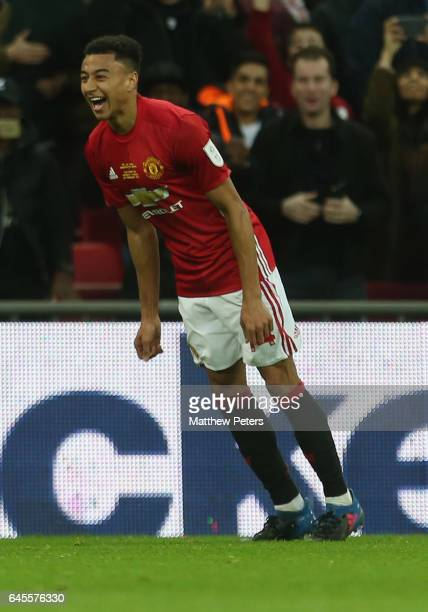 Jesse Lingard of Manchester United celebrates scoring their second goal during the EFL Cup Final match between Manchester United and Southampton at...