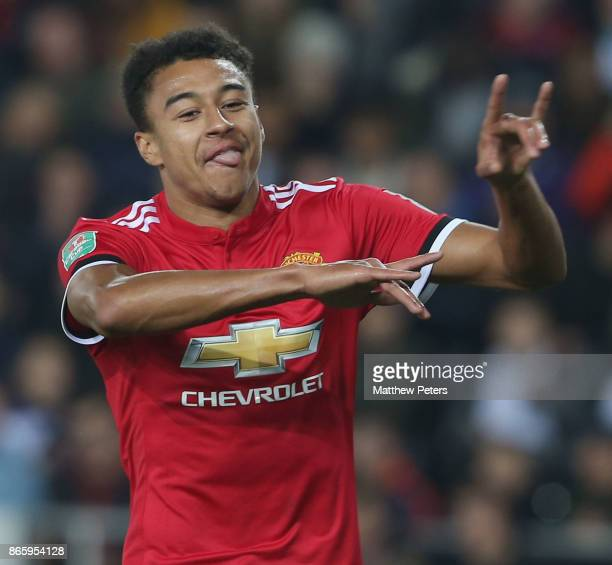 Jesse Lingard of Manchester United celebrates scoring their second goal during the Carabao Cup Fourth Round match between Swansea City and Manchester...