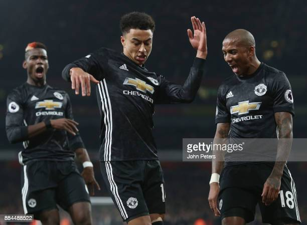 Jesse Lingard of Manchester United celebrates scoring their second goal during the Premier League match between Arsenal and Manchester United at...