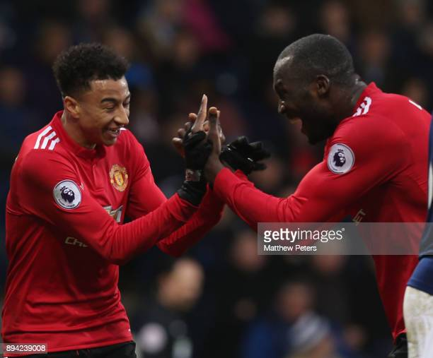 Jesse Lingard of Manchester United celebrates scoring their second goal during the Premier League match between West Bromwich Albion and Manchester...