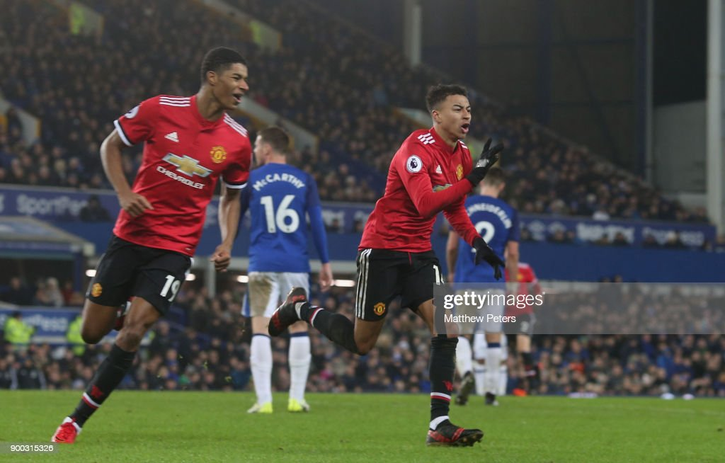 Jesse Lingard of Manchester United celebrates scoring their second goal during the Premier League match between Everton and Manchester United at Goodison Park on January 1, 2018 in Liverpool, England.