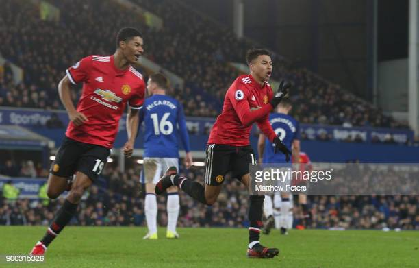 Jesse Lingard of Manchester United celebrates scoring their second goal during the Premier League match between Everton and Manchester United at...