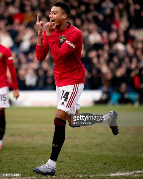 Jesse Lingard of Manchester United celebrates scoring their third goal during the FA Cup Fourth Round match between Tranmere Rovers and Manchester...