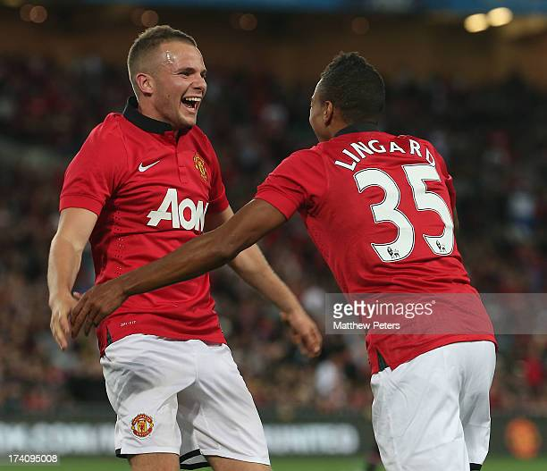 Jesse Lingard of Manchester United celebrates scoring their third goal during the match between the ALeague AllStars and Manchester United at ANZ...