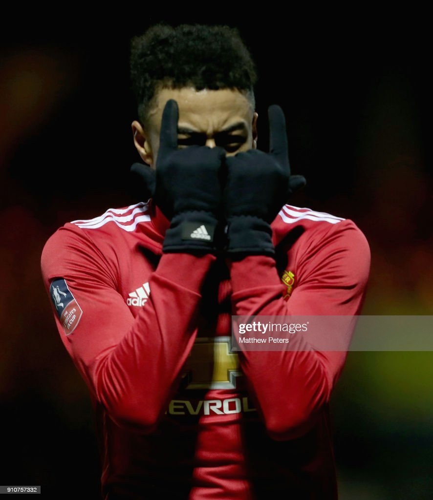 Jesse Lingard of Manchester United celebrates scoring their third goal during the Emirates FA Cup Fourth Round match between Yeovil Town and Manchester United at Huish Park on January 26, 2018 in Yeovil, England.