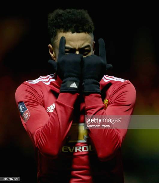 Jesse Lingard of Manchester United celebrates scoring their third goal during the Emirates FA Cup Fourth Round match between Yeovil Town and...