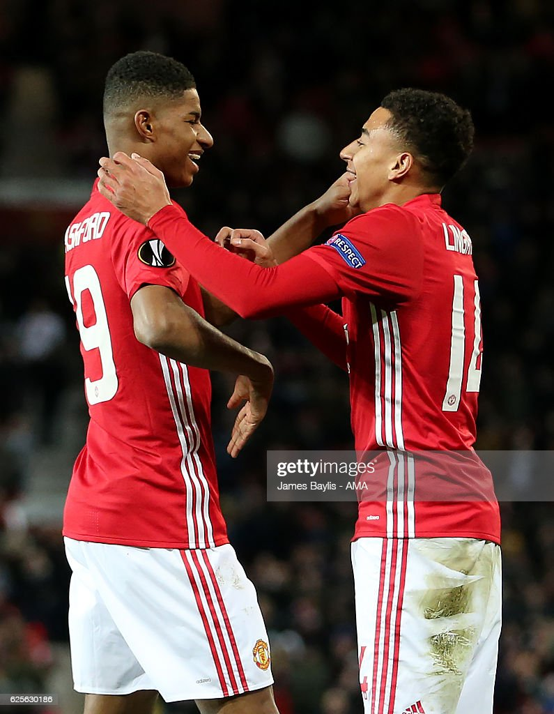 Jesse Lingard of Manchester United celebrates with Marcus Rashford after scoring the fourth goal to make the score 4-0 during the UEFA Europa League match between Manchester United FC and Feyenoord at Old Trafford on November 24, 2016 in Manchester, England.