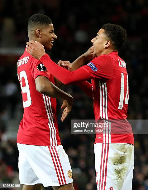 Jesse Lingard of Manchester United celebrates with Marcus Rashford after scoring the fourth goal to make the score 40 during the UEFA Europa League...