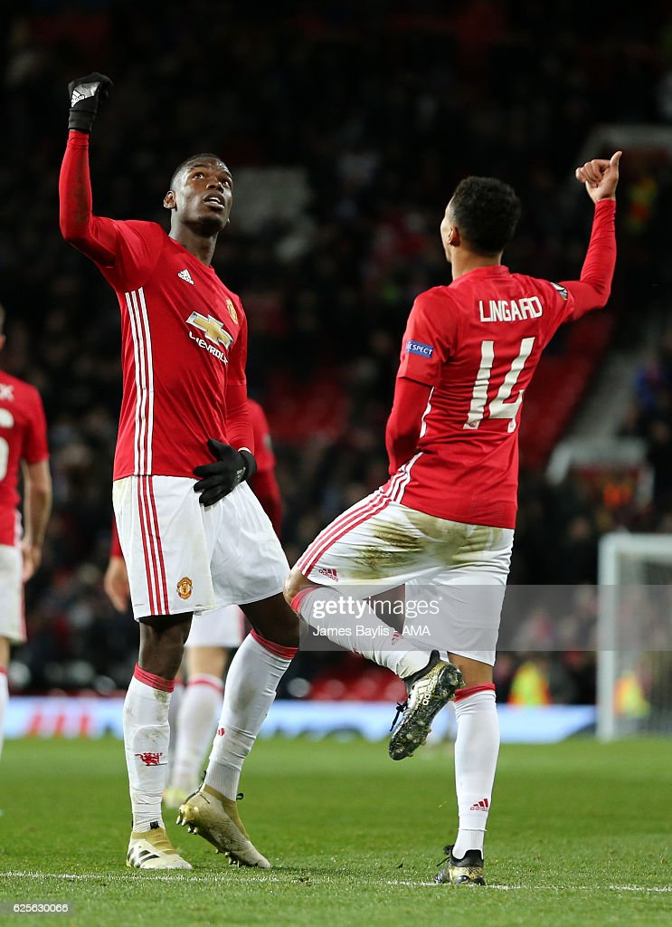 Jesse Lingard of Manchester United celebrates with Paul Pogba after scoring the fourth goal to make the score 4-0 during the UEFA Europa League match between Manchester United FC and Feyenoord at Old Trafford on November 24, 2016 in Manchester, England.