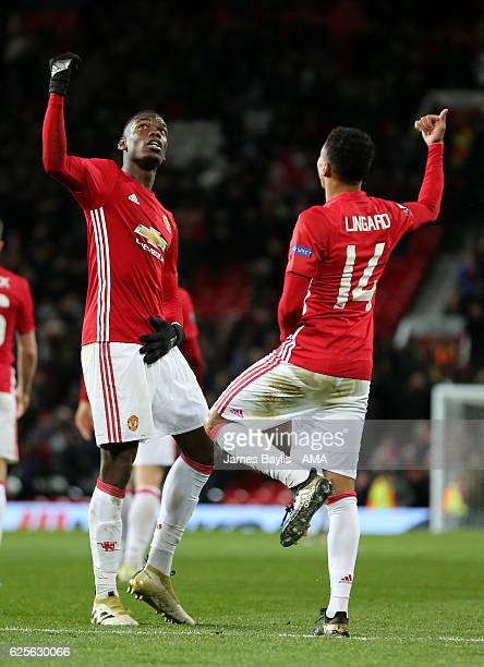 Jesse Lingard of Manchester United celebrates with Paul Pogba after scoring the fourth goal to make the score 40 during the UEFA Europa League match...