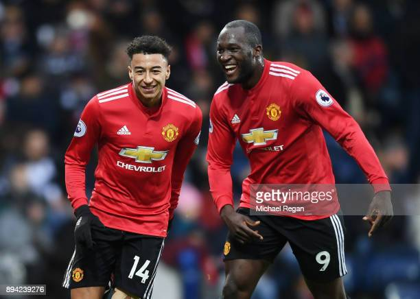 Jesse Lingard of Manchester United celebrates with teammate Romelu Lukaku after scoring his sides second goal during the Premier League match between...