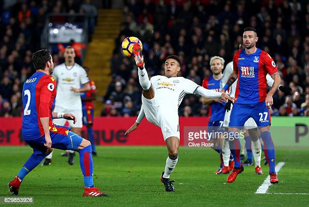 Jesse Lingard of Manchester United controls the ball during the Premier League match between Crystal Palace and Manchester United at Selhurst Park on...