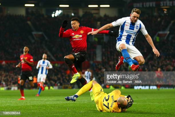 Jesse Lingard of Manchester United Dale Stephens of Brighton and Hove Albion and David Button of Brighton and Hove Albion during the Premier League...