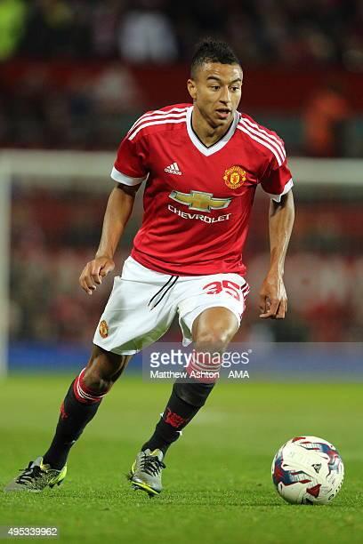 Jesse Lingard of Manchester United during the Capital One Cup Fourth Round match between Manchester United v Middlesbrough at Old Trafford on October...