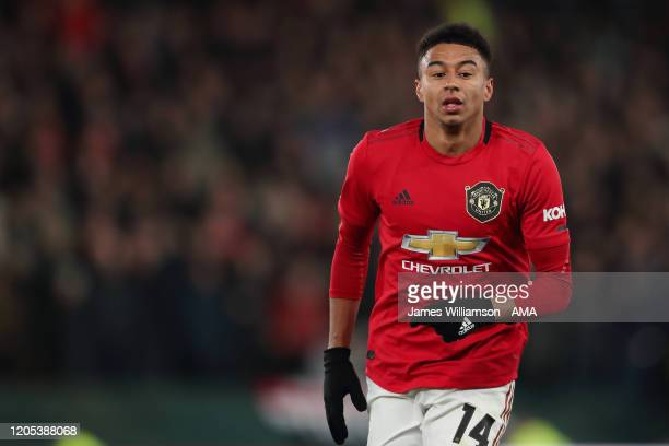 Jesse Lingard of Manchester United during the FA Cup Fifth Round match between Derby County and Manchester United at Pride Park on March 5 2020 in...