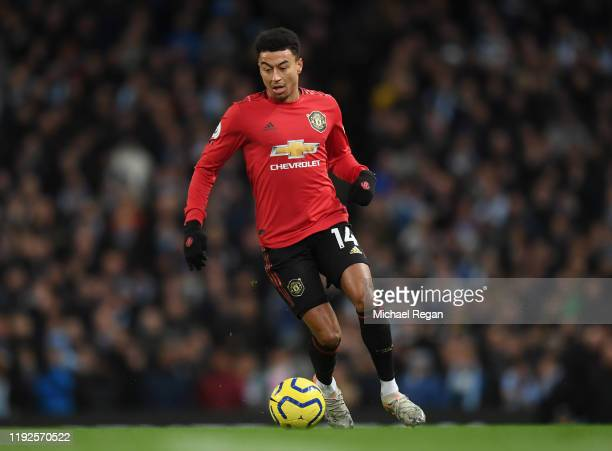Jesse Lingard of Manchester United during the Premier League match between Manchester City and Manchester United at Etihad Stadium on December 07...