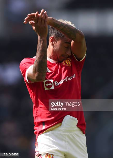 Jesse Lingard of Manchester United during the pre-season friendly between Derby County and Manchester United at Pride Park on July 18, 2021 in Derby,...