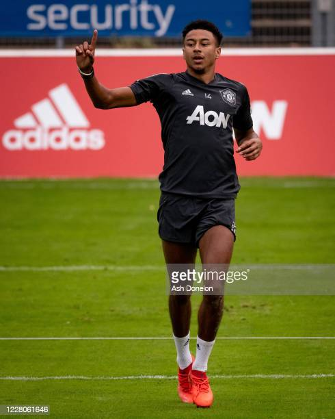 Jesse Lingard of Manchester United gestures during a training session at RheinEnergieStadion on August 15 2020 in Cologne Germany