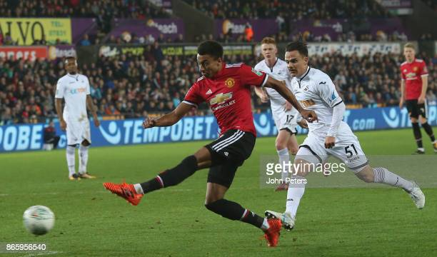 Jesse Lingard of Manchester United has a shot on goal during the Carabao Cup Fourth Round match between Swansea City and Manchester United at Liberty...