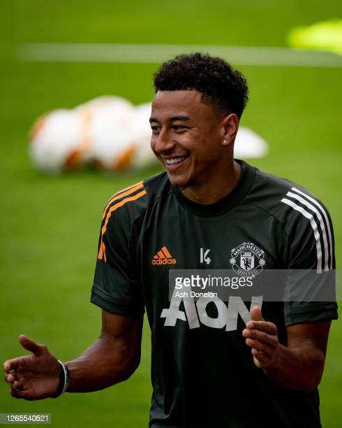 Jesse Lingard of Manchester United in action during a first team training session at Sportpark Hoehenberg on August 11 2020 in Cologne Germany