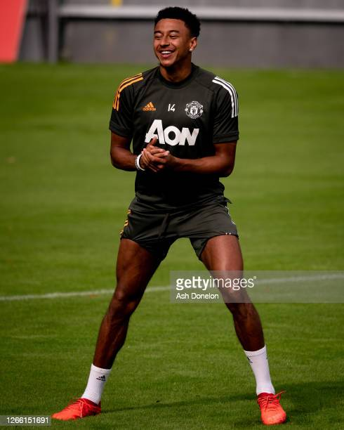 Jesse Lingard of Manchester United in action during a first team training session at Sportpark Hoehenberg on August 13 2020 in Cologne Germany