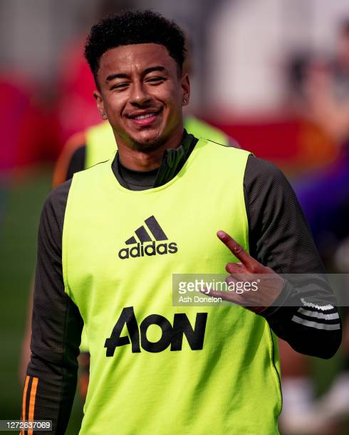Jesse Lingard of Manchester United in action during a first team training session at Aon Training Complex on September 15 2020 in Manchester England