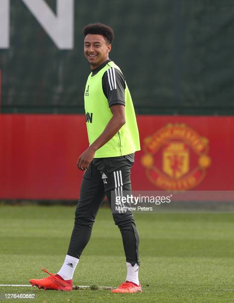 Jesse Lingard of Manchester United in action during a first team training session at Aon Training Complex on September 24 2020 in Manchester England