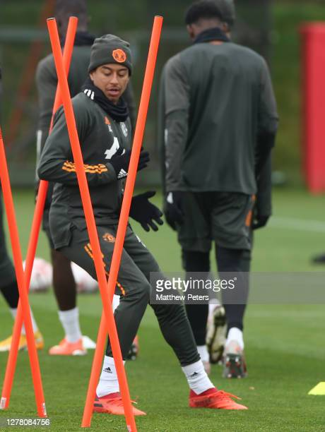 Jesse Lingard of Manchester United in action during a first team training session at Aon Training Complex on October 02 2020 in Manchester England