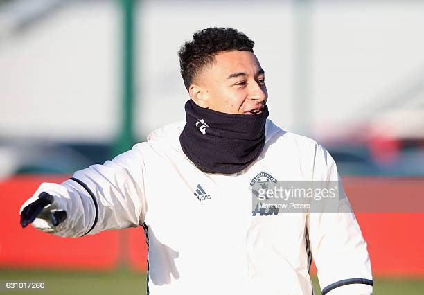 Jesse Lingard of Manchester United in action during a first team training session at Aon Training Complex on January 5 2017 in Manchester England