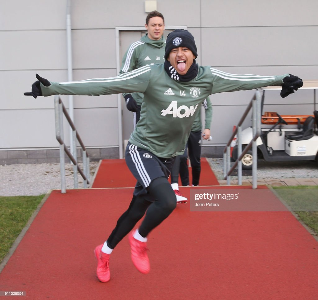 Jesse Lingard of Manchester United in action during a first team training session at Aon Training Complex on January 28, 2018 in Manchester, England.