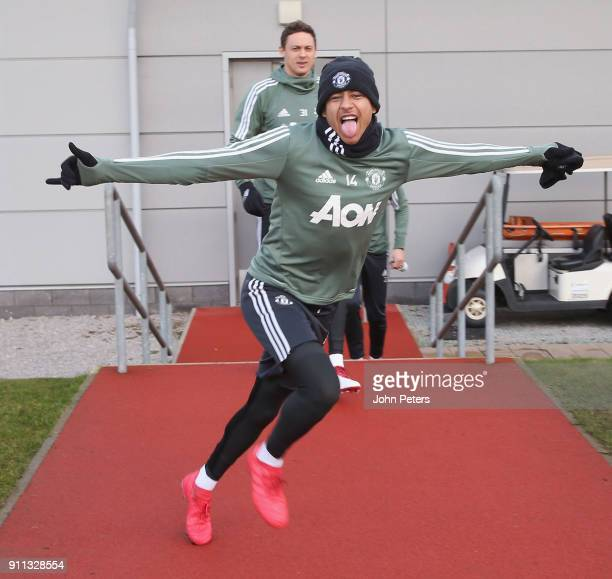 Jesse Lingard of Manchester United in action during a first team training session at Aon Training Complex on January 28 2018 in Manchester England