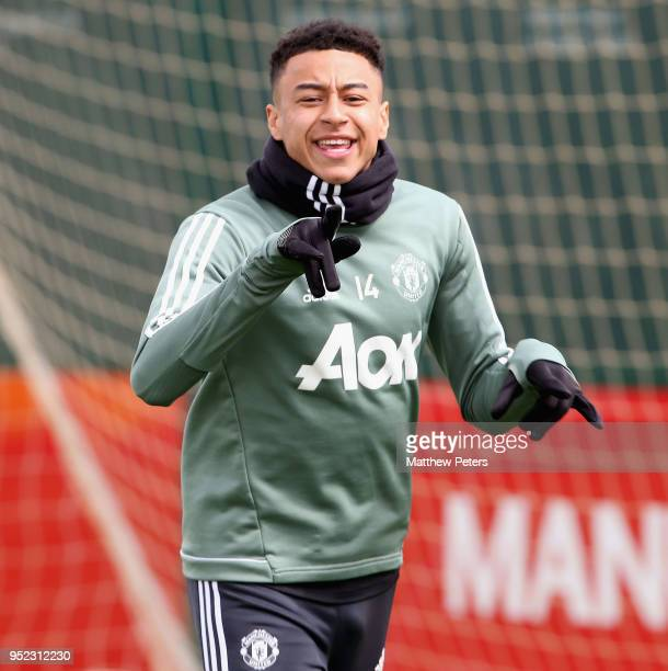 Jesse Lingard of Manchester United in action during a first team training session at Aon Training Complex on April 28 2018 in Manchester England