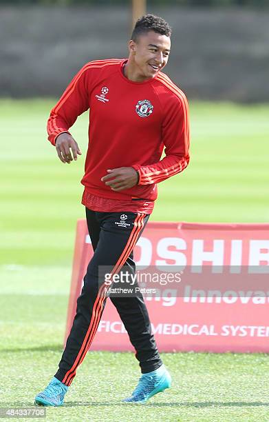Jesse Lingard of Manchester United in action during a first team training session ahead of their UEFA Champions League playoff first leg match...