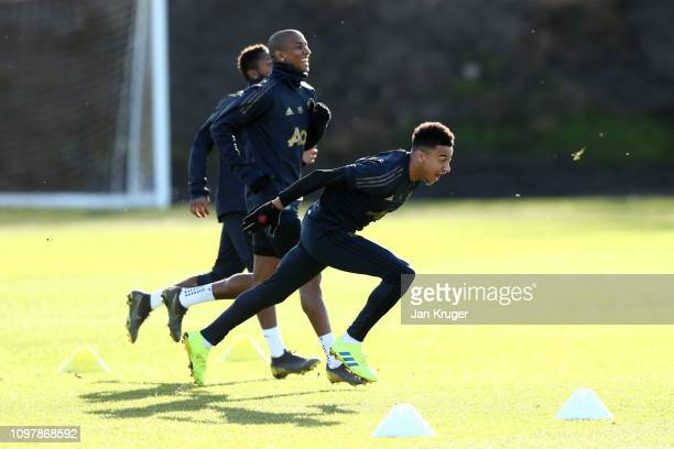 Jesse Lingard of Manchester United in action during a training session ahead of their UEFA Champions League Round of 16 match against Paris...