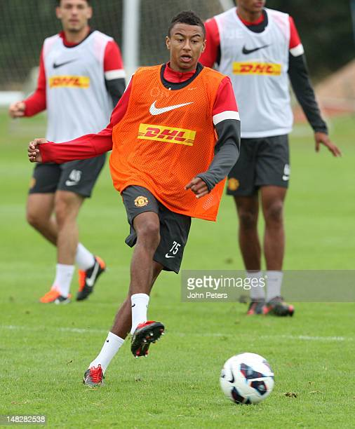 Jesse Lingard of Manchester United in action during first team training session at Carrington Training Ground on July 13 2012 in Manchester England