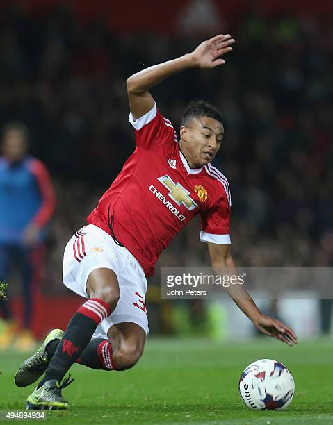 Jesse Lingard of Manchester United in action during the Capital One Cup Fourth Round match between Manchester United and Middlesbrough at Old...