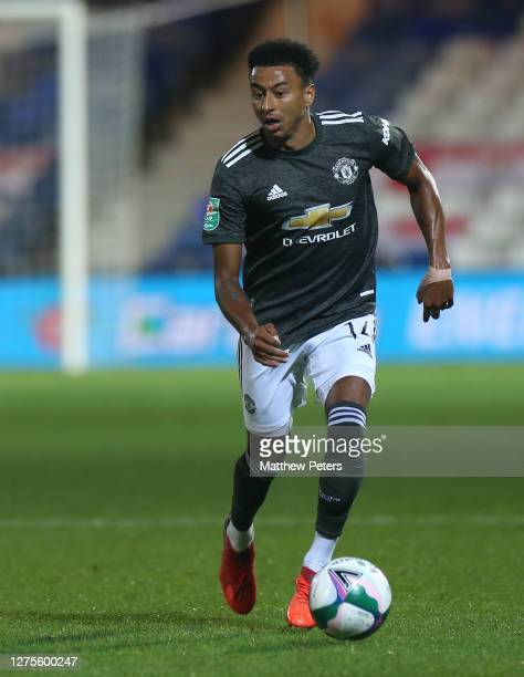 Jesse Lingard of Manchester United in action during the Carabao Cup Third Round match between Luton Town and Manchester United at Kenilworth Road on...