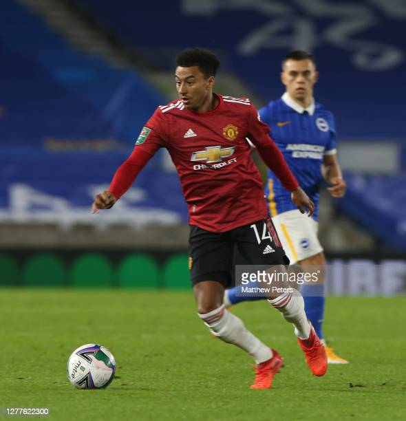 Jesse Lingard of Manchester United in action during the Carabao Cup fourth round match between Brighton and Hove Albion and Manchester United at Amex...