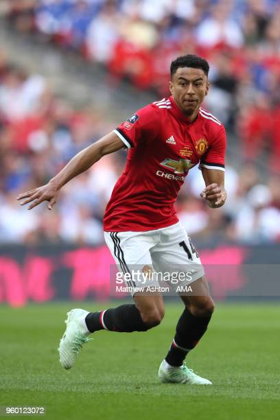 Jesse Lingard of Manchester United in action during the Emirates FA Cup Final between Chelsea and Manchester United at Wembley Stadium on May 19 2018...