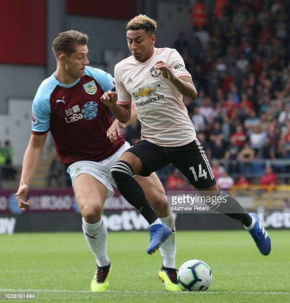 Jesse Lingard of Manchester United in action during the Premier League match between Burnley FC and Manchester United at Turf Moor on September 2...