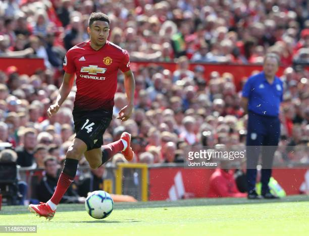 Jesse Lingard of Manchester United in action during the Premier League match between Manchester United and Cardiff City at Old Trafford on May 12...