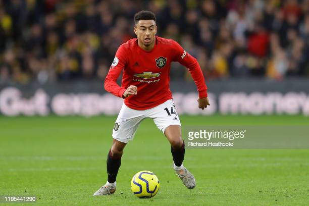Jesse Lingard of Manchester United in action during the Premier League match between Watford FC and Manchester United at Vicarage Road on December...