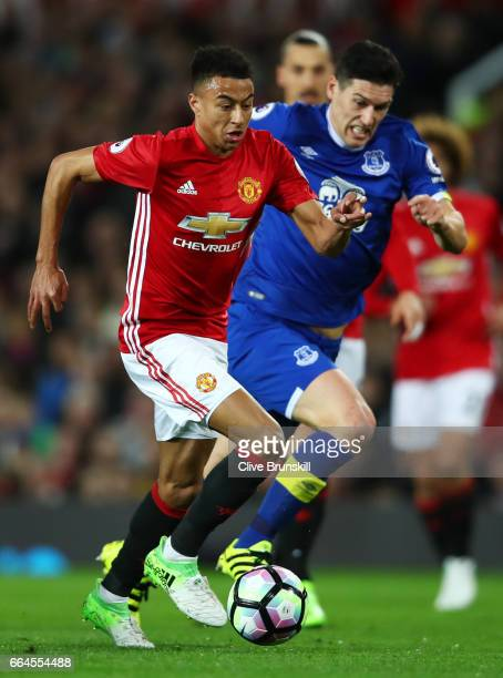 Jesse Lingard of Manchester United in action during the Premier League match between Manchester United and Everton at Old Trafford on April 4 2017 in...